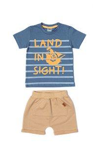 Conjunto Menino Camiseta Meia Malha Bermuda Moletom - Azul com Bege