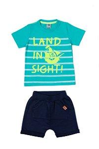 Conjunto Menino Camiseta Meia Malha Bermuda Moletom - Lago