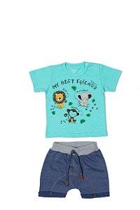 Conjunto Menino Camiseta Meia Malha Bermuda Moletinho - Lago