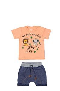 Conjunto Menino Camiseta Meia Malha Bermuda Moletinho - Coral