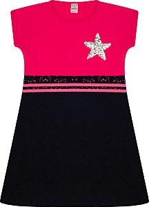 Vestido Menina com Recorte Suedine - Cereja com Preto