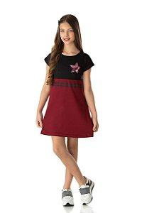 Vestido Menina com Recorte Suedine - Preto com Vinho