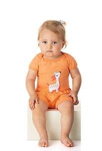 Conjunto Body Pijama Menina Meia Malha - Salmão
