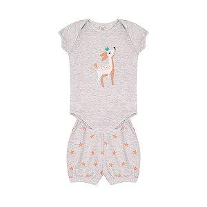 Conjunto Body Pijama Menina Meia Malha - Mescla Claro
