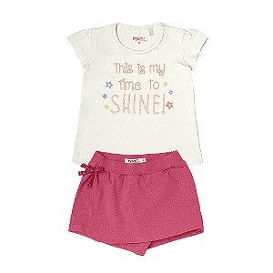 Conjunto Menina Blusa Meia Malha e Shorts/Saia Cotton - Off White com Pink