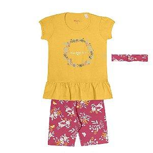 Conjunto Menina Blusa Meia Malha e Ciclista Cotton Lycra - Amarelo com Pink
