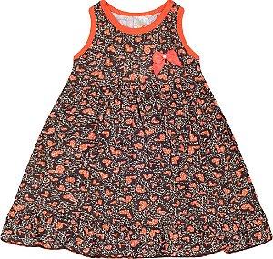 Vestido Menina Regata Meia Malha - Estampa Corações