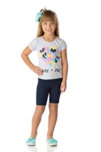 Conjunto Menina Cotton Jeans Meia Malha Fio 30/1 - Mescla com Jeans
