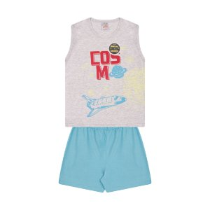 Pijama Menino Machão Meia Malha Estampa Brilha no Escuro - Mescla Claro com Celeste