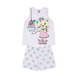 Pijama Menina Regata Meia Malha - Branco