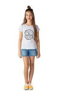 Camiseta Menina Meia Manga Meia Malha Fio 30/1 - Mescla Claro