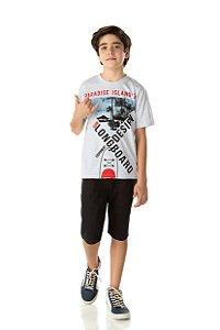 Camiseta Menino Meia Malha Fio 30/1 - Mescla