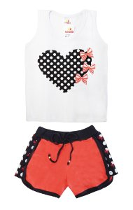Conjunto de Regata Cotton / Moletim - Branco com Coral