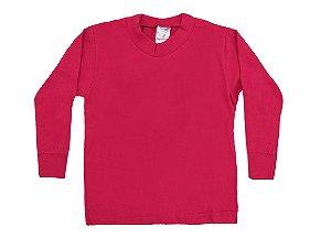 Camiseta Escolar Menino Manga Longa Meia Malha Fio 30/1 - Vermelho