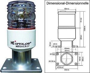 Luz Estrobo e Fundeio em LED Optolamp MEGA LX-IV 4 em 1