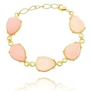 Pulseira Pedra Quartzo Rosa Folheada a Ouro 18k - 07837