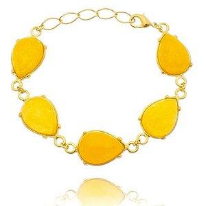 Pulseira Pedra Jade Amarela Folheada a Ouro 18k