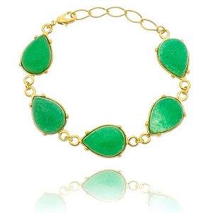 Pulseira Pedra Jade Verde Folheada a Ouro 18k - 07831