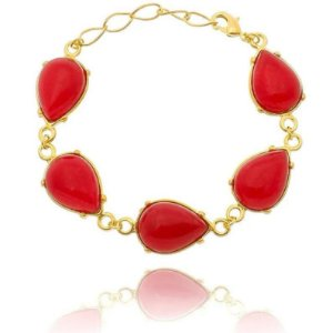 Pulseira Pedra Jade Vermelha Folheada a Ouro 18k - 07828