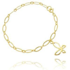 Pulseira Borboleta Folheada a Ouro 18k - 06875