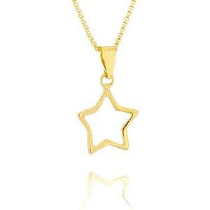 Colar Estrela Folheado a Ouro 18k