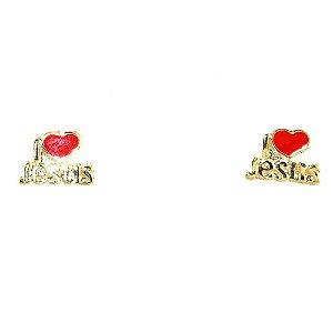 BRINCO EU AMO JESUS FOLHEADO A OURO 18K - 07941