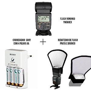Kit com Flash Yongnuo YN568ex para Nikon + Rebatedor de Flash prata e branco + Carregador com 4 pilhas AA Sony
