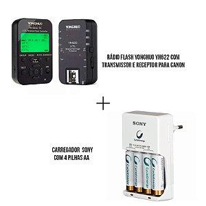 Kit com Rádio Flash Yongnuo YN622 com transmissor e receptor para Canon + Carregador com pilhas 4 pilhas AA Sony
