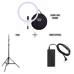 Kit Ring light YN608+ Tripé de Iluminação + Fonte