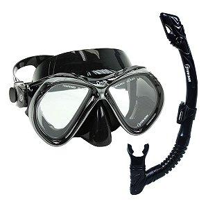 Kit Dry Onix Fun Dive Máscara Snorkel Dupla Válvula mergulho