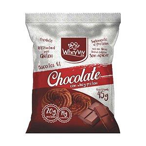 Biscoito Fit Chocolate Com Whey Protein - 45g - Wheyviv