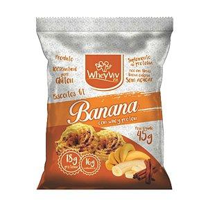 Biscoito Fit Banana Com Whey Protein - 45g - Wheyviv