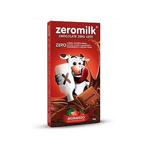 Chocolate Zero Lactose 80g - Morango - 40% Cacau - Zeromilk