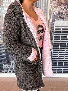 Casaco Teddy Reversível cinza + rosa bebê