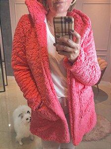 Casaco Teddy rosa chiclé