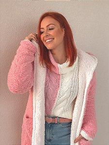 Casaco Teddy Reversível rosa algodão doce + branco