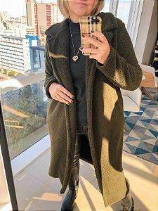 Casaco Maxi Coat Verde Militar