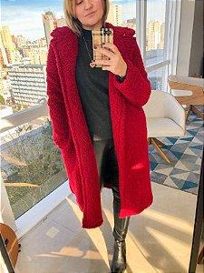 Casaco Maxi Coat Vermelho - pelo alto