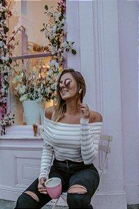 Blusa de Ombro a Ombro listrada off white e rosa