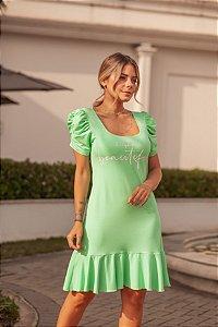Vestido Verde Menta com babado e manga princesa