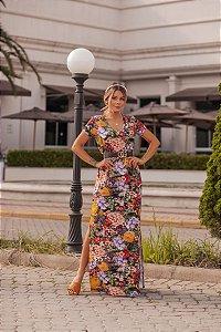 Vestido Longo Floral escuro