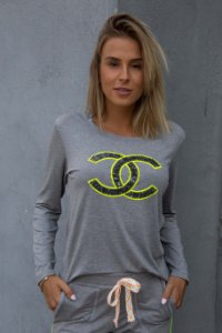 Blusa Chanel Neon Bordada