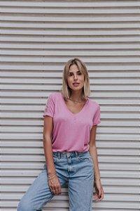 T-Shirt rosa com renda