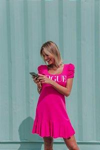 Vestido Vogue Pink com manga princesa e babado