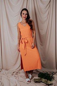 Vestido Regata Canelado Laranja