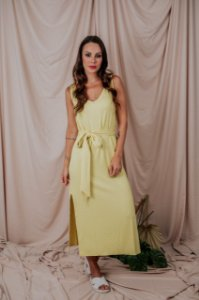 Vestido Regata Canelado Amarelo