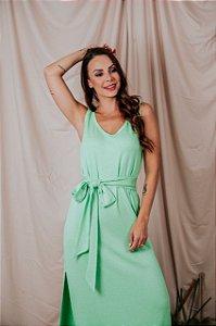 Vestido Regata Canelado Verde Menta