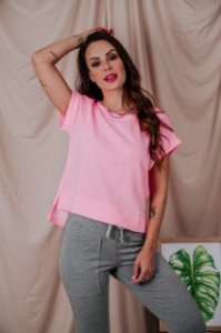 Blusa Cropped rosa neon