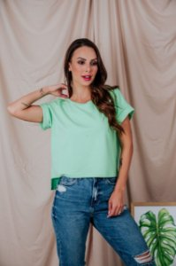 Blusa Cropped moletinho verde menta