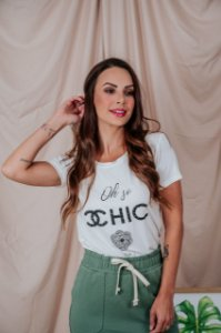 T-Shirt Oh So CHIC off white bordada